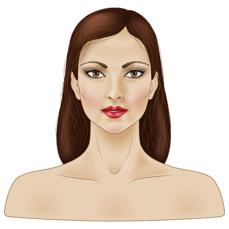face painting: Face of girl with long brown hair isolated on white.