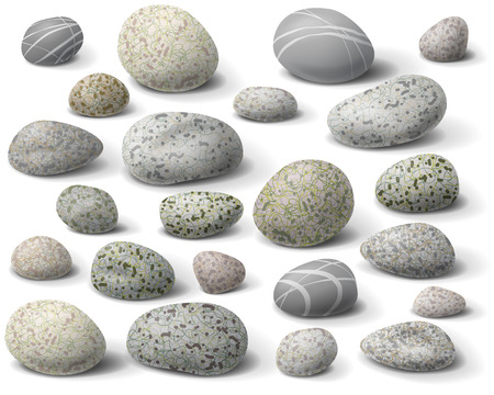 river rock: The variety  of rocks isolated  on white.