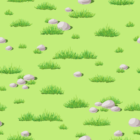 Seamless texture with green grass and stones. Illustration