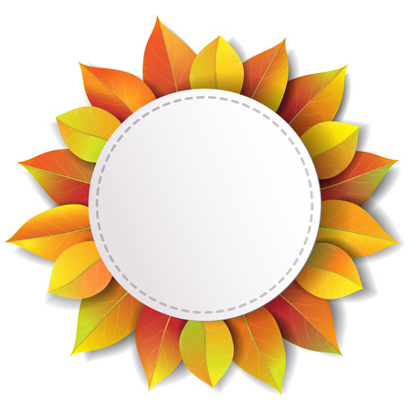 White round label decorated with autumn  leaves.