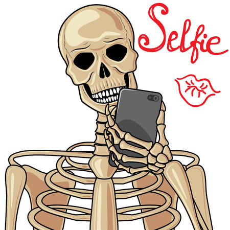 famous people: Human skeleton with popular devices.