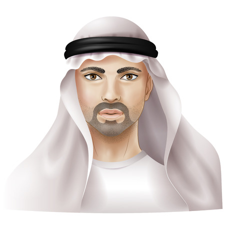 stubble: Arab dressed in national clothes isolated on white.