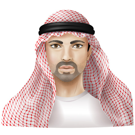 keffiyeh: Arab dressed in national clothes. Illustration