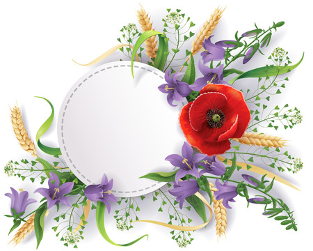 ear bud: White round label decorated with bouquet of wild flowers, bluebells, ears and poppy. Illustration