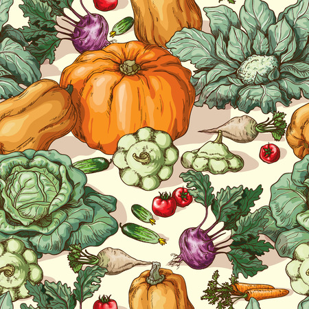 gourd: Seamless texture with various vegetables. Illustration
