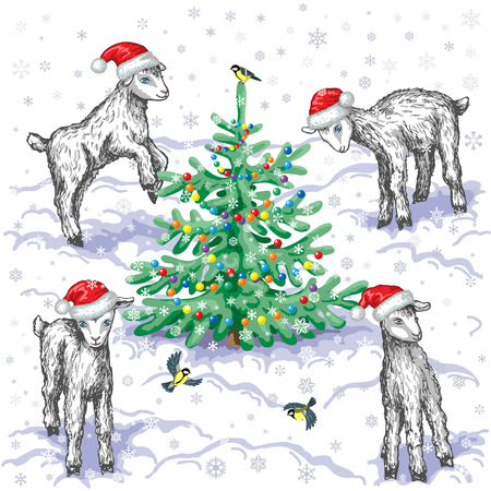 titmouse: Young goats, flying titmouse  and  Christmas tree decorated with colorful balls on  snowflakes background. Illustration