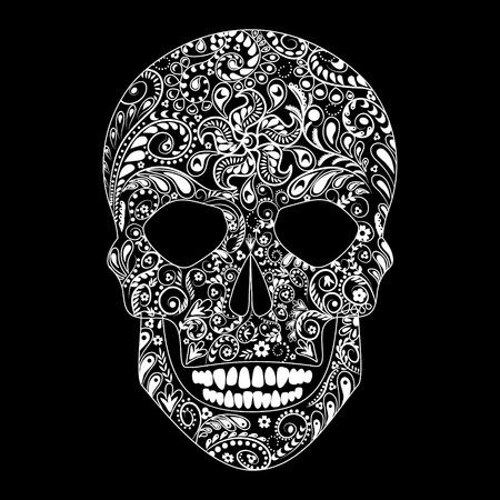 Motif floral blanc en forme de crâne humain sur fond noir. Banque d'images - 34004530