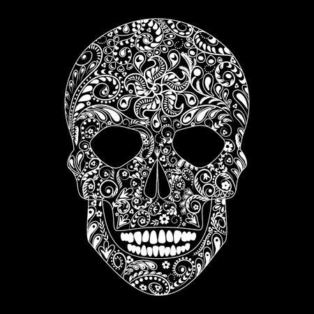 flower head: White floral pattern in the shape of human skull on black background.