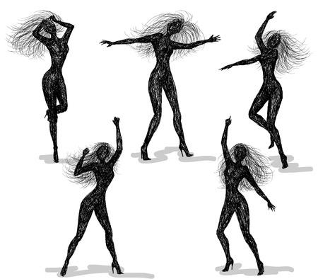 bailarines silueta: Siluetas de las muchachas de baile. Vector el bosquejo. Vectores