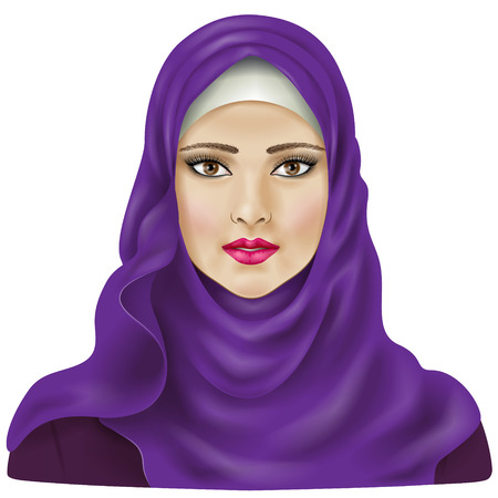 Muslim girl dressed in violet hijab. Illustration