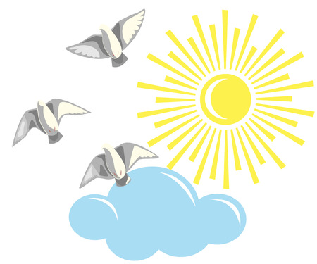 cleanness: Simplified image of flying pigeons, sun, cloud  isolated on white. Illustration
