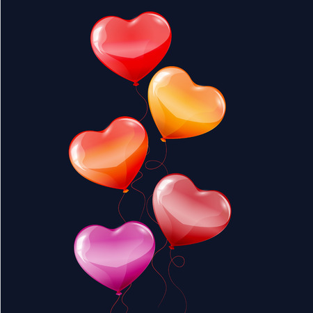colorful heart: Colorful heart shaped birthday balloons on black background.