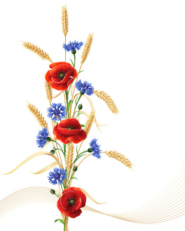 Bunch of wheat ears, red poppy flowers and blue cornflowers isolated on white.