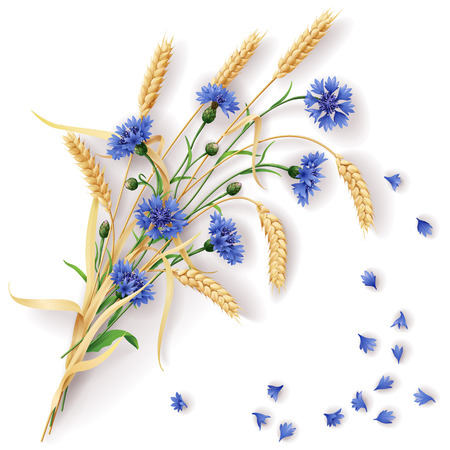 Bunch of wheat ears and blue cornflowers with scattered petals.