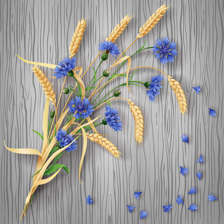 reaping: Bunch of wheat ears and blue cornflowers with scattered petals on grey  wood background. Illustration
