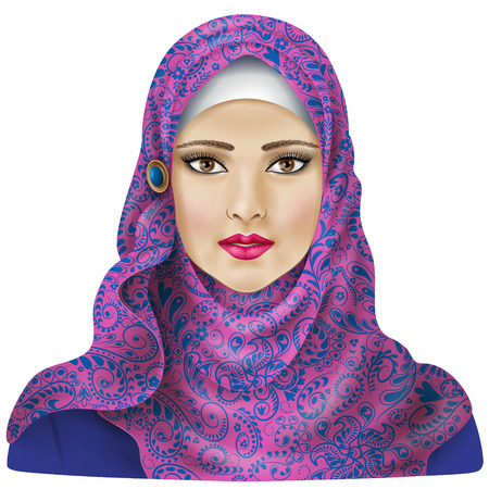 Muslim girl dressed in colored hijab. 向量圖像