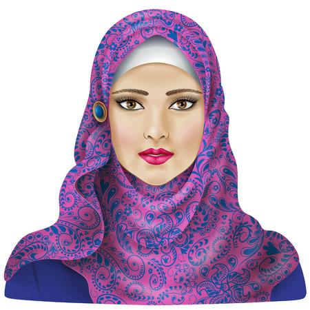 Muslim girl dressed in colored hijab. Illustration