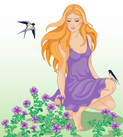 red hair: Beautiful girl with long red hair looks down on the violet flowers.