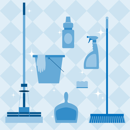 immaculate: Set of domestic tools for cleaning on blue checkered background. Illustration