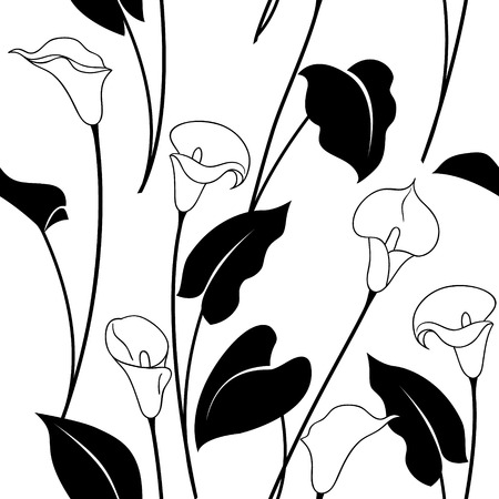 Seamless pattern with black and white calla lily flowers and  leaves. Ilustracja