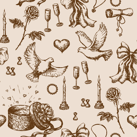 drawing dove: Seamless pattern with doodles of  flying pigeons, candles, roses, ribbons, letter and presents. Illustration