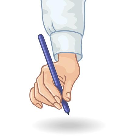 hand holding pen: Hand holding pen isolated on white.