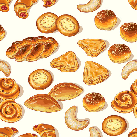 tempting: Seamless pattern with variety of bakery on white background.