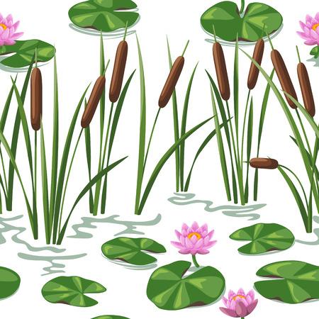 Naadloze achtergrond met moerasplanten. Vereenvoudigde beeld van riet en waterlelie.
