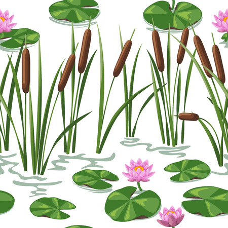 Seamless background with  wetland plants. Simplified image of  reed  and water lily. Vettoriali