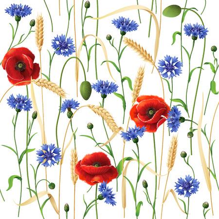Naadloze patroon met blauwe korenbloemen, rode papavers en tarwe oren op wit.
