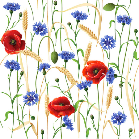 Seamless pattern with blue cornflowers, red poppies and wheat ears  on white. Illustration
