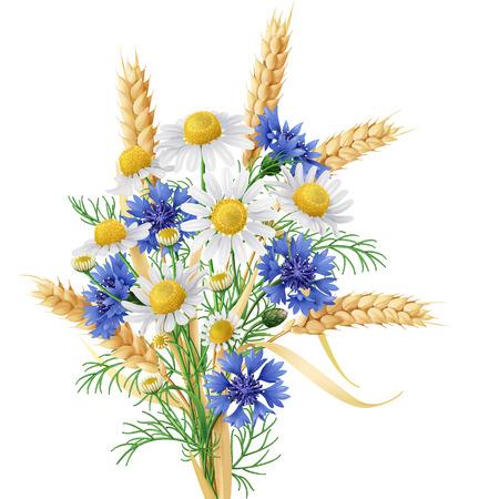 Mazzo di camomilla selvaggia, fiordalisi blu e spighe di grano. Archivio Fotografico - 39524706