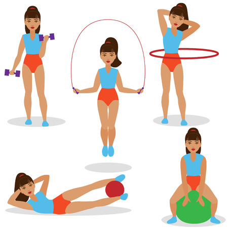 Set of girl  doing exercises with jumping rope