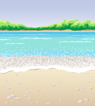 ocean view: Seascape the beach, waves, pebble, sand, and  distant trees. Illustration