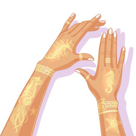 bracelets: Female hands with beautiful painted golden bracelets and marine images. Summer flash tattoo design. Illustration