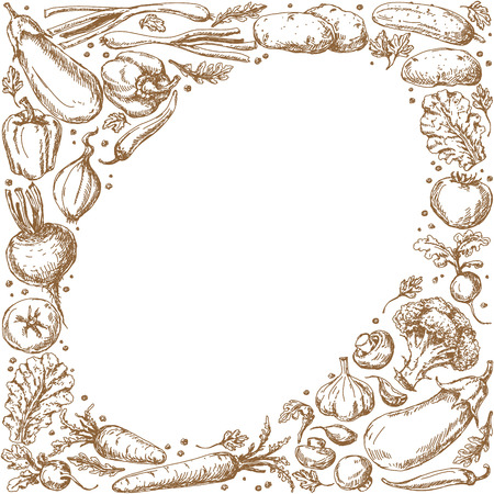 elliptic: Oval frame with  sketch of vegetables and  spices set.