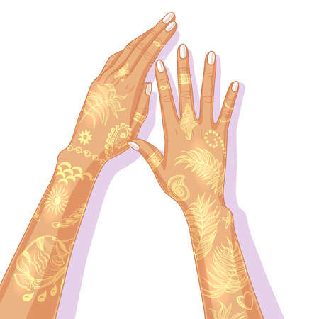 bracelet tattoo: Female hands with painted golden bracelets, floral patterns,  marine images and palm leaves. Summer flash tattoo design.