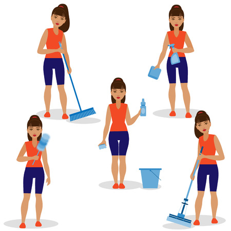 brunet: The Girl with different simple tools for cleaning a room. Illustration