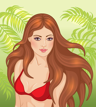 woman hair: Beautiful girl with long brown flying hair dressed in red swimsuit on green palm fronds background.