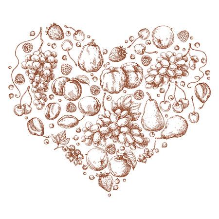membrillo: Conjunto de diferentes frutas en forma de corazón. Bosquejo drenado mano de manzana, pera, uva, membrillo, ciruela, albaricoque, cereza y bayas.