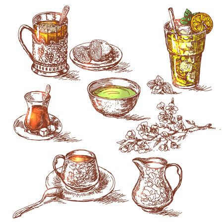 glass cup: Hand drawn various teas set. Sketch of cup of green tea, glass of tea with lemon, glass of tea with sugar, glass of cold tea with ice and cup of tea with milk. Emphasis is placed on the color of tea. Illustration