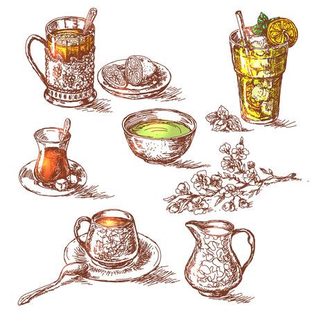 Feier: Hand gezeichnet verschiedene Tees gesetzt. Skizze der Tasse grüner Tee, ein Glas Tee mit Zitrone, Glas Tee mit Zucker, Glas kalten Tee mit Eis und eine Tasse Tee mit Milch. Augenmerk wird auf die Farbe des Tees platziert. Illustration