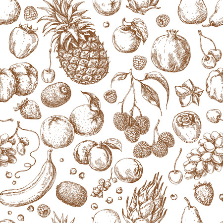 The pattern with different fruits. Hand drawn sketch various of fruits and berries. Seamless texture.