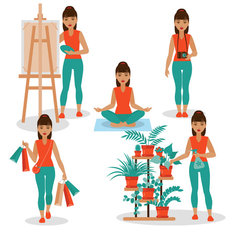girlish: Different kinds of girlish hobby - houseplants, shopping, painting, photo and yoga.