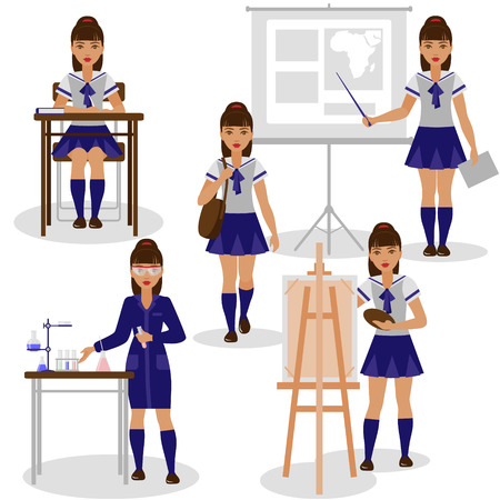 girl studying: The school girl in studying of different school subjects. The girl is engaged at the lessons of chemistry, geography, painting. Back to school set. Illustration