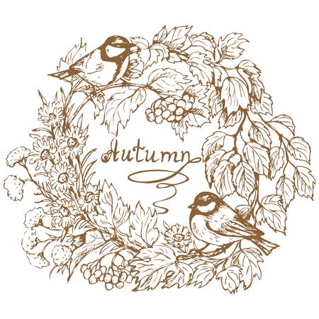 Hand drawn cadre rond avec deux mésange, viburnum branche, les baies, les feuilles et les fleurs d'automne. Inscription automne est au centre de l'image.
