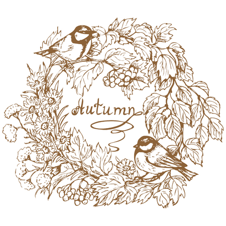 viburnum: Hand drawn round frame with two titmouse,   viburnum branch, berries, leaves and autumn flowers. Inscription autumn is in the center of image.