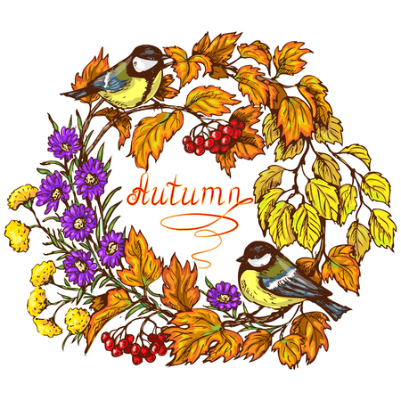 viburnum: Colorful round frame with two titmouse,   viburnum branch, berries, leaves and flowers in bright autumn colors. Inscription autumn is in the center of image. Illustration