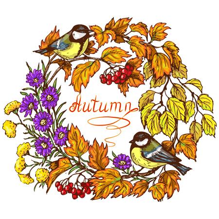 borde de flores: Marco redondo colorido con de dos carbonero, rama Viburnum, bayas, hojas y flores en colores brillantes de otoño. Inscripción otoño está en el centro de la imagen. Vectores