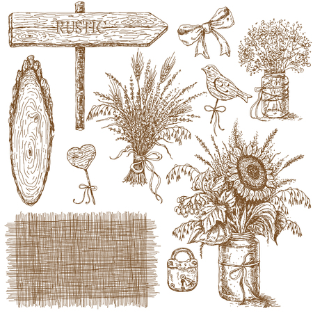 associate: Hand drawn sketch of set of various bouquets and things which associate with rustic style. The image can be used as an illustration for rustic wedding design. Illustration